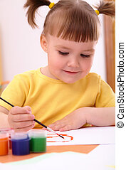 peintures, jeu, enfant préscolaire