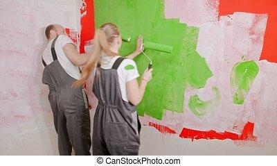 peintures, maman, jouer, peinture, quoique, mur, fille, papa