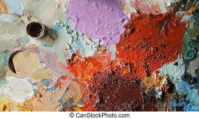 peintures, palette, closeup