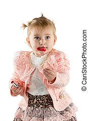 peintures, petite fille, rouge lèvres, lèvres