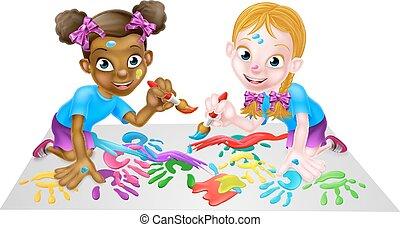 peintures, petites filles