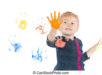 peintures, peu, fenêtre, girl, handprints