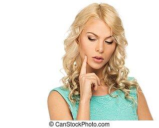 peinzend, jonge vrouw , met, lang, blond haar