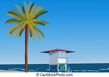 Peisage of seashore with palms and lifeguard hut. Blue clear sky. Vector