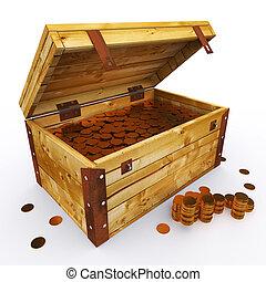 peito, de, moedas, em branco, para, espaço cópia