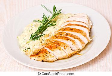 peito galinha, com, enfeite