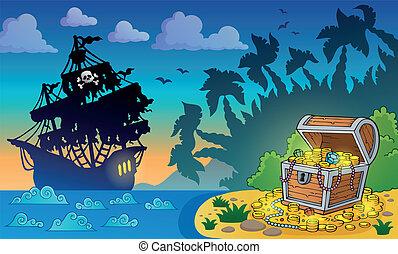 peito, tesouro, 5, tema, pirata