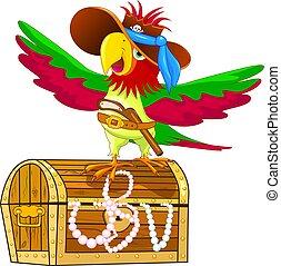 peito, tesouro, -, pirata, papagaio
