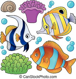 peixe, 3, cobrança, tema, recife, coral
