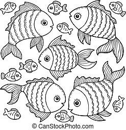peixe, 3, tema, imagem, desenhos