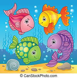 peixe, 5, tema, imagem