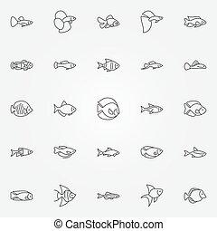 peixe, aquário, ícones