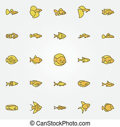 peixe, aquário, coloridos, ícones