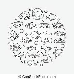 peixe, aquário, ilustração