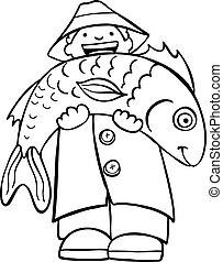 peixe, arte, linha, segurando