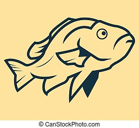 peixe, arte, linha