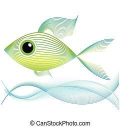 peixe, arte, misturando