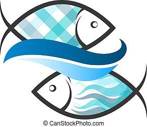 peixe azul, dois, onda
