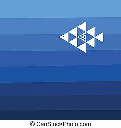 peixe azul, fundo, geométrico
