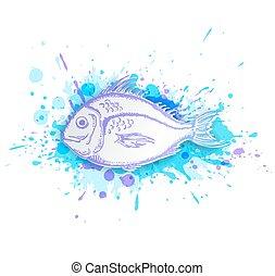 peixe azul, fundo