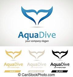 peixe azul, rabo, logotipo, ícone