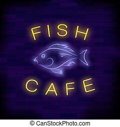 peixe, café, néon, coloridos, sinal