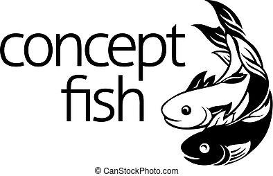 peixe, conceito, símbolo, ícone