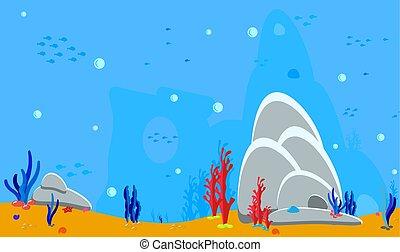 peixe, conchas, bottom., mar, oceânicos, adesivos, paisagem, teia, silueta, coral, panorama, experiência., ilustração, jogo, aniversário, bebê, algas, ativos, cave., pedras, vetorial, applications., ou, fundo