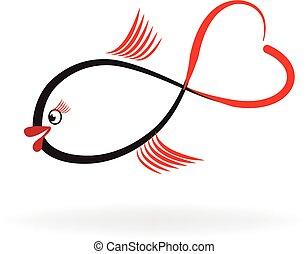 peixe, de, amor, logotipo