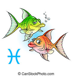 peixe, dois, caricatura