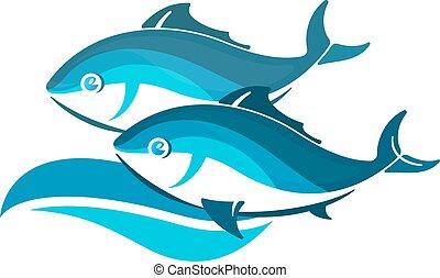 peixe, dois, onda