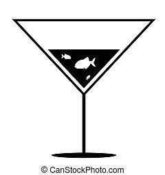 peixe, em, martini, preto branco, vetorial