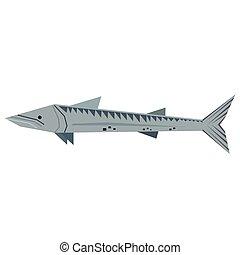 peixe, esturjão, estilo, ilustração, geomã©´ricas