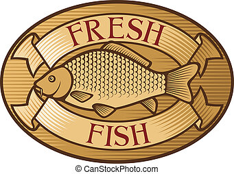 peixe, fresco, etiqueta