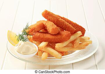 peixe, fritado, frita, dedos, francês
