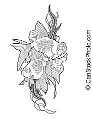 peixe, gráfico, telescópio