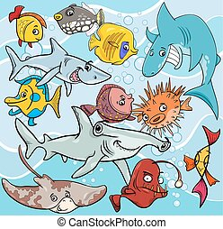 peixe, grupo, caricatura, caráteres, animal