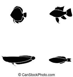 peixe, jogo, ícone