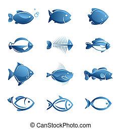 peixe, jogo, ícones
