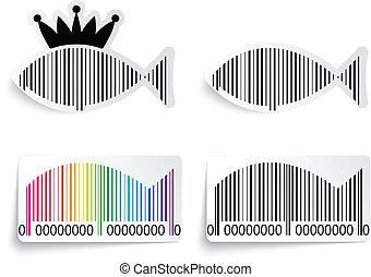 peixe, jogo, barcode, etiqueta