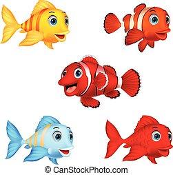 peixe, jogo, caricatura, cobrança