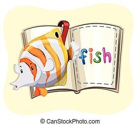 peixe, livro, oceânicos