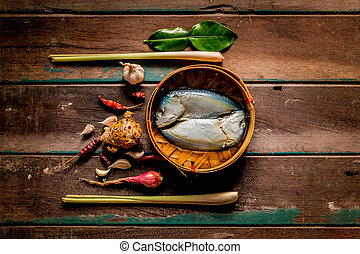 peixe, madeira, Temperos