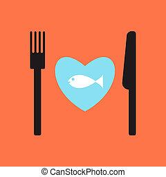 peixe, menu., restaurante