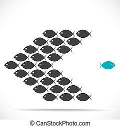 peixe, movimento, direção, oposta