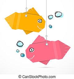 peixe, papel, enforcar, bolhas, cadeias