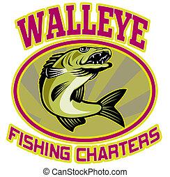 peixe, pesca, carta patente, walleye