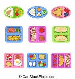peixe plano, alimento crianças, ovos, boxes., sanduíche, breakfast., cortado, almoço, vetorial, frutas, ilustrações, legumes frescos, recipientes, refeição