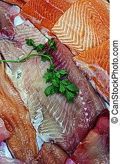 peixe prepara filés, venda, 7
