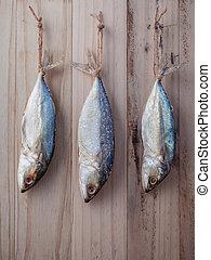 peixe, preservação, por, secar